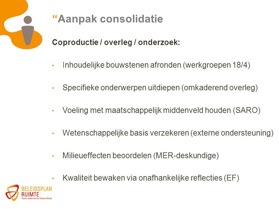Aanpak consolidatie Coproductie / overleg / onderzoek: