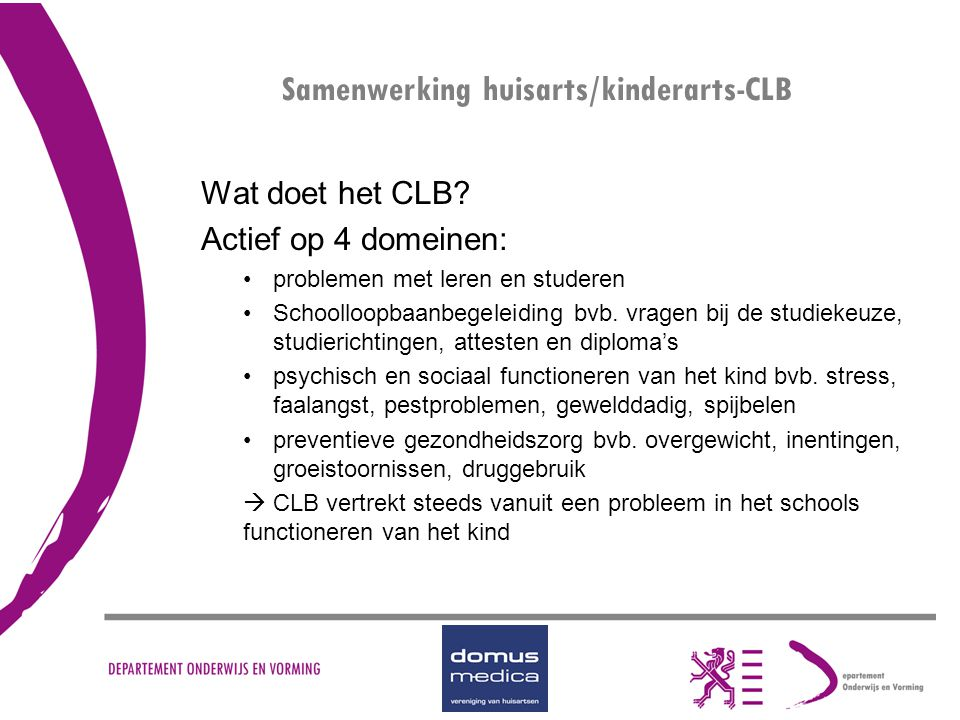 Samenwerking huisarts/kinderarts-CLB