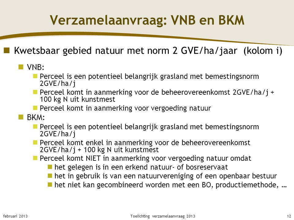 Verzamelaanvraag: VNB en BKM