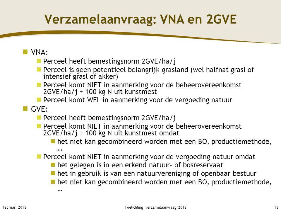 Verzamelaanvraag: VNA en 2GVE