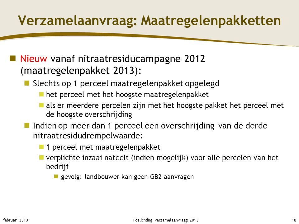 Verzamelaanvraag: Maatregelenpakketten