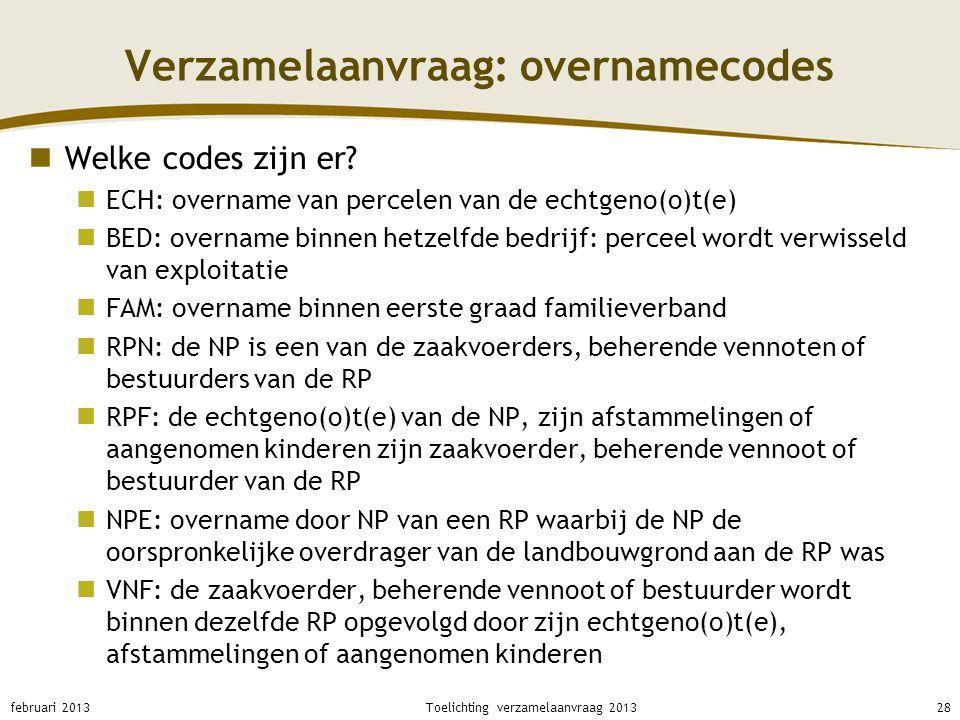 Verzamelaanvraag: overnamecodes