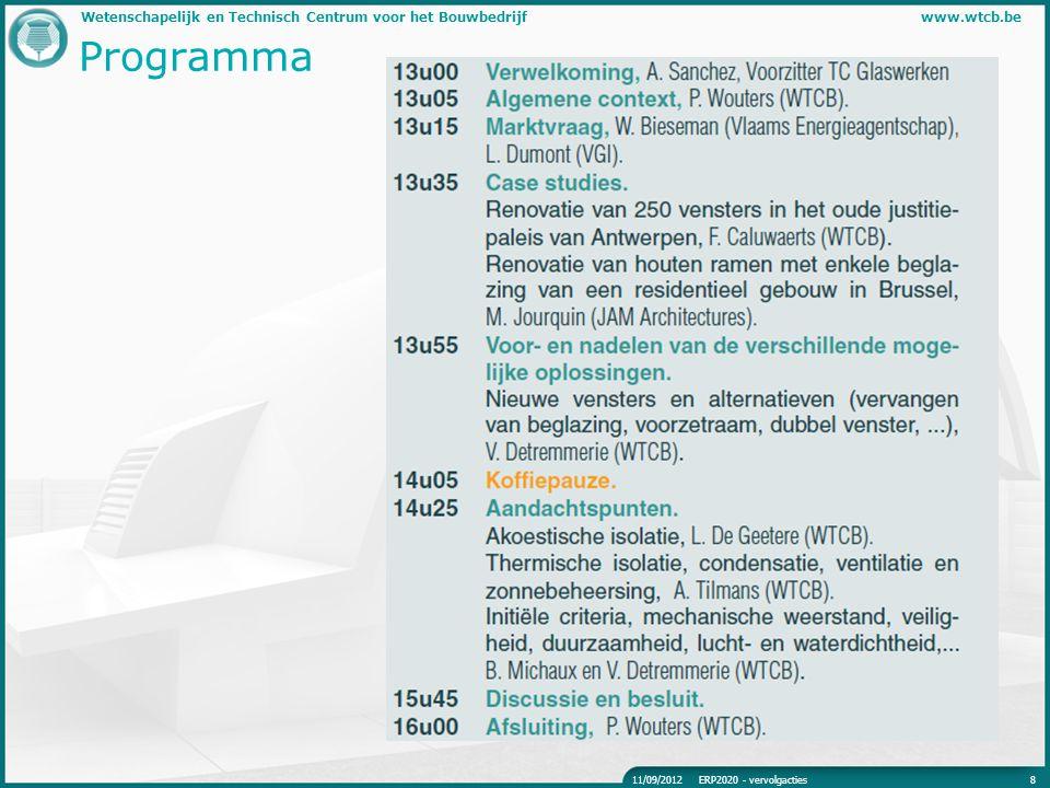 Programma 11/09/2012 ERP2020 - vervolgacties