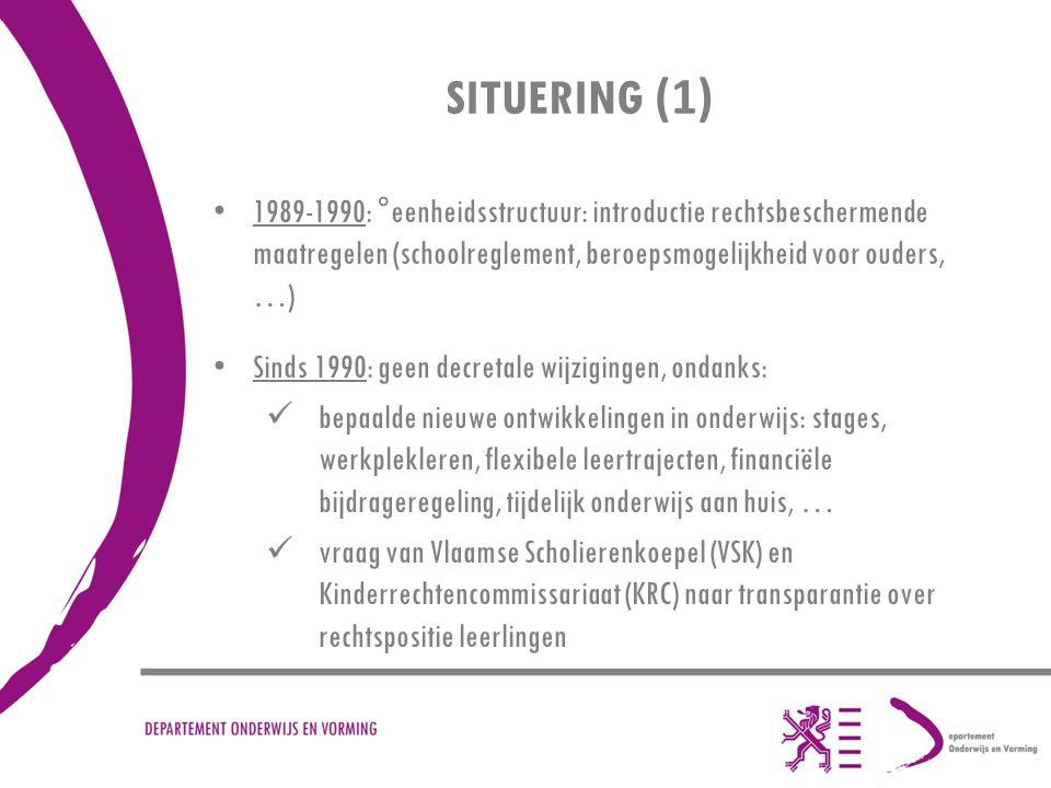 SITUERING (1) 1989-1990: °eenheidsstructuur: introductie rechtsbeschermende maatregelen (schoolreglement, beroepsmogelijkheid voor ouders, …)