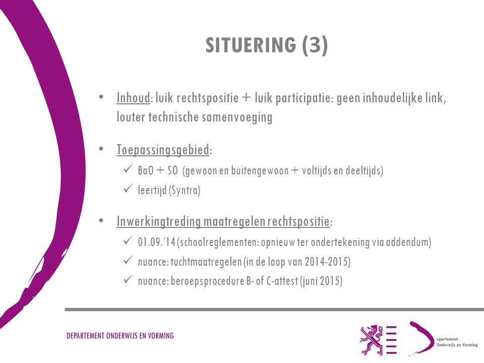 SITUERING (3) Inhoud: luik rechtspositie + luik participatie: geen inhoudelijke link, louter technische samenvoeging.