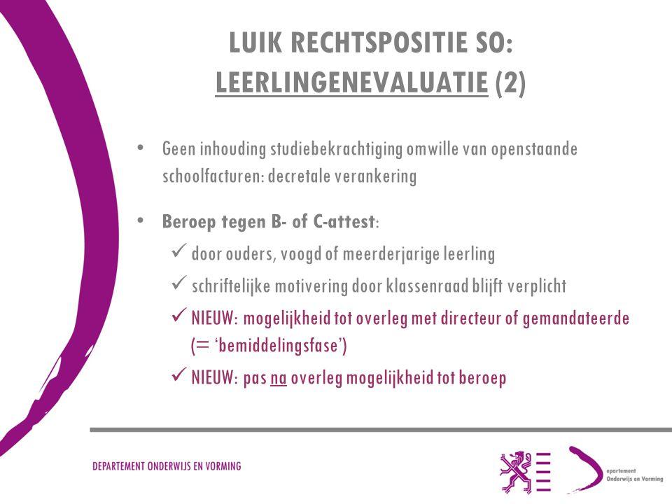 LUIK RECHTSPOSITIE SO: LEERLINGENEVALUATIE (2)
