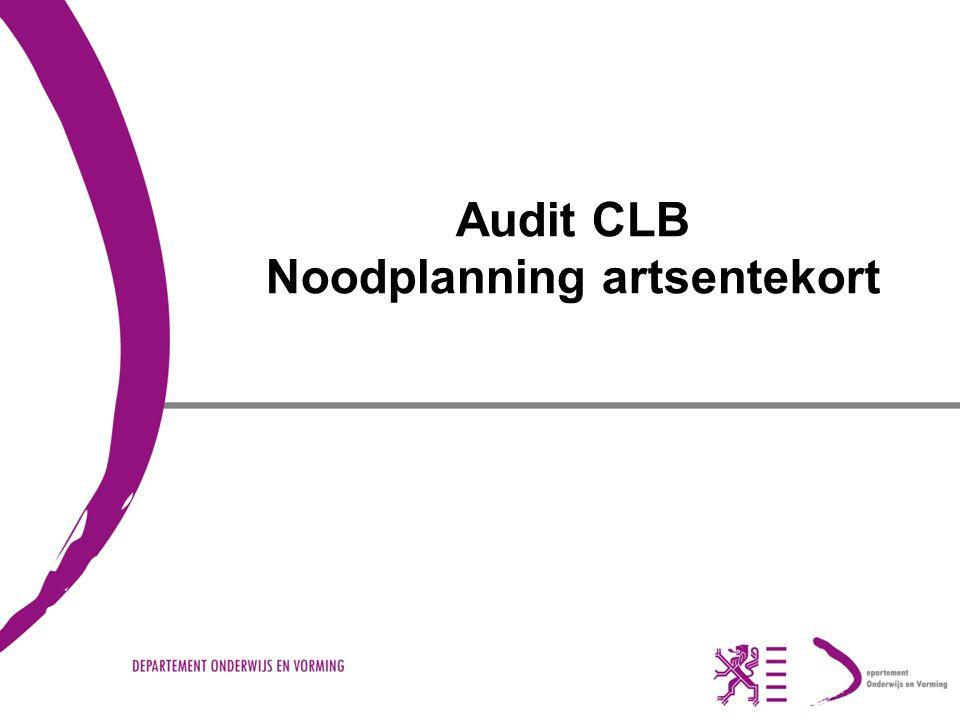 Audit CLB Noodplanning artsentekort