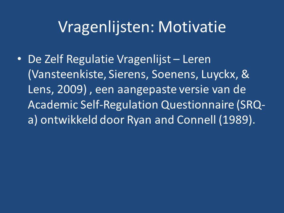 Vragenlijsten: Motivatie