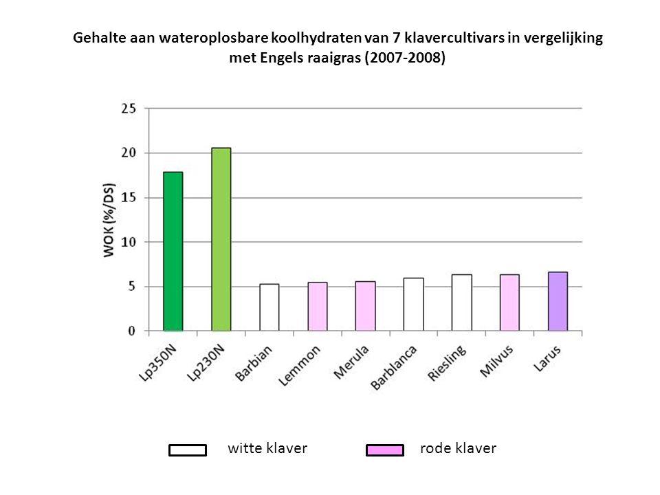 Gehalte aan wateroplosbare koolhydraten van 7 klavercultivars in vergelijking met Engels raaigras (2007-2008)