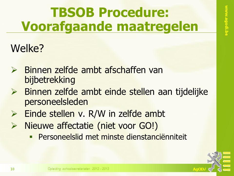 TBSOB Procedure: Voorafgaande maatregelen