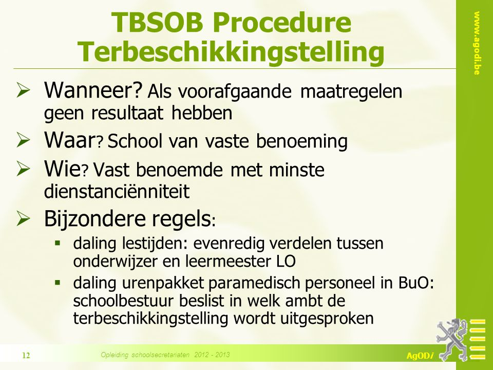 TBSOB Procedure Terbeschikkingstelling
