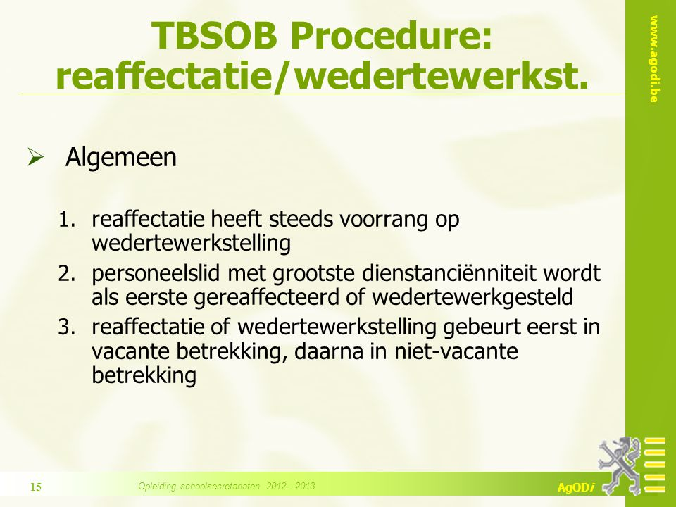 TBSOB Procedure: reaffectatie/wedertewerkst.