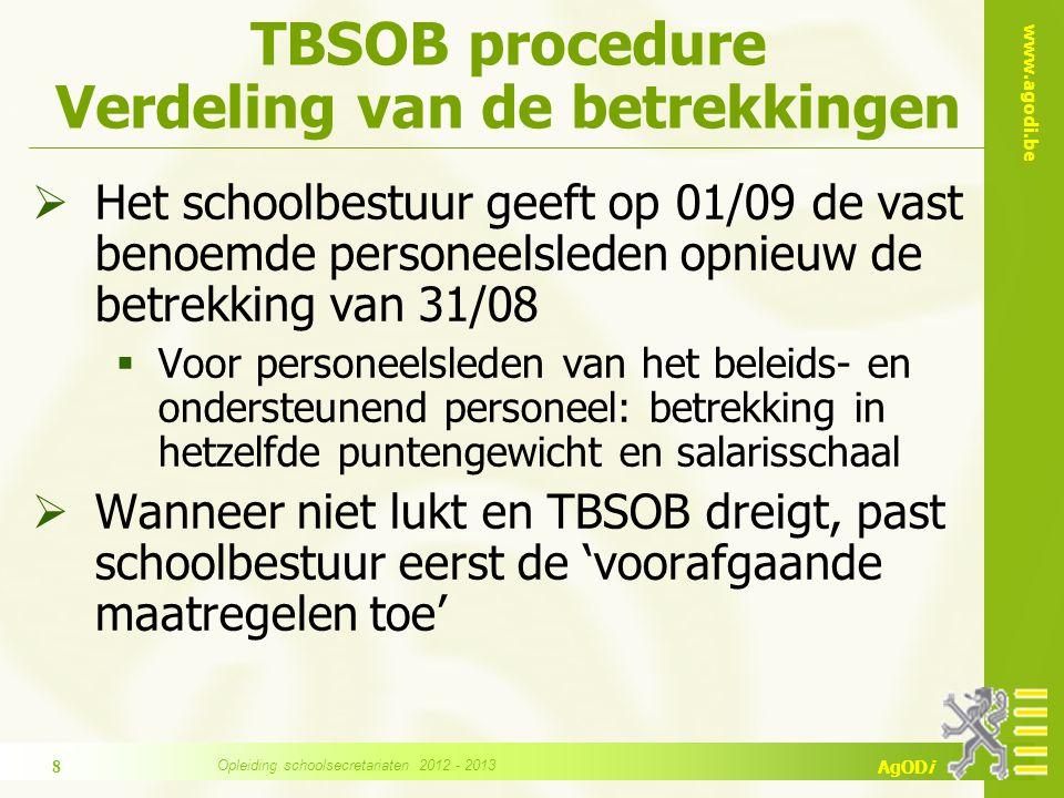 TBSOB procedure Verdeling van de betrekkingen