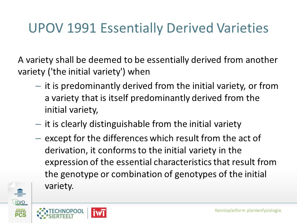 UPOV 1991 Essentially Derived Varieties