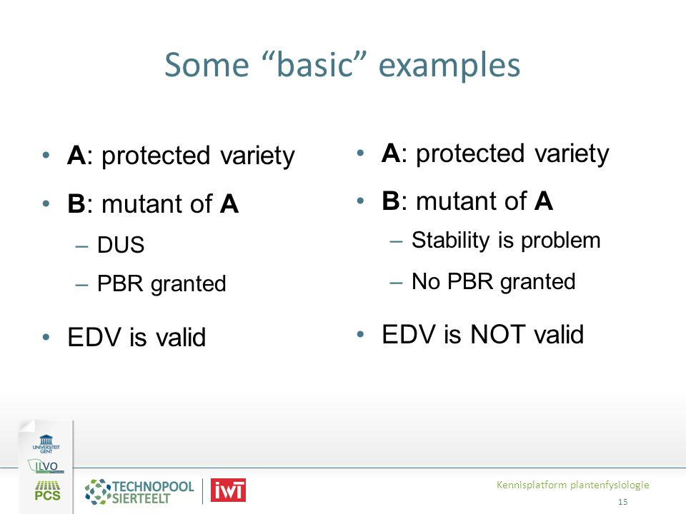 Some basic examples A: protected variety B: mutant of A EDV is valid
