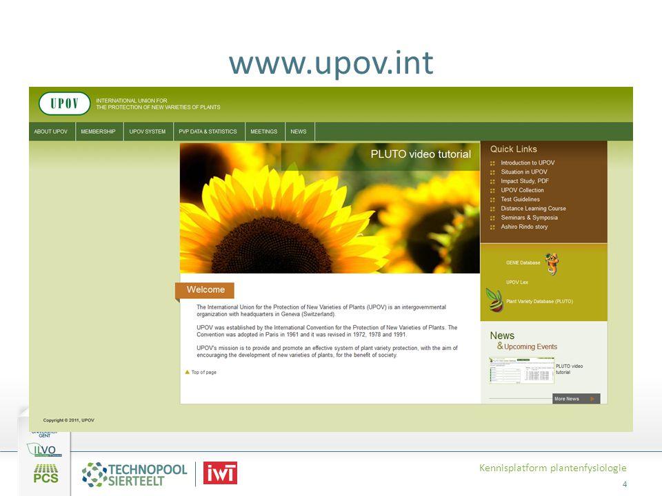 www.upov.int Kennisplatform plantenfysiologie