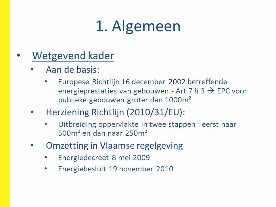1. Algemeen Wetgevend kader Aan de basis:
