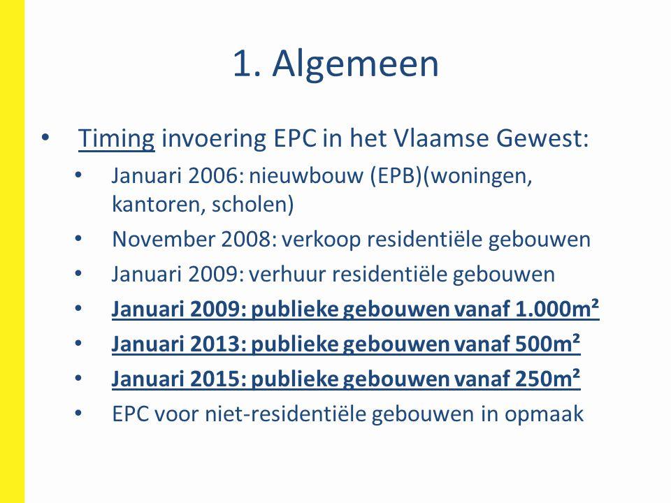 1. Algemeen Timing invoering EPC in het Vlaamse Gewest: