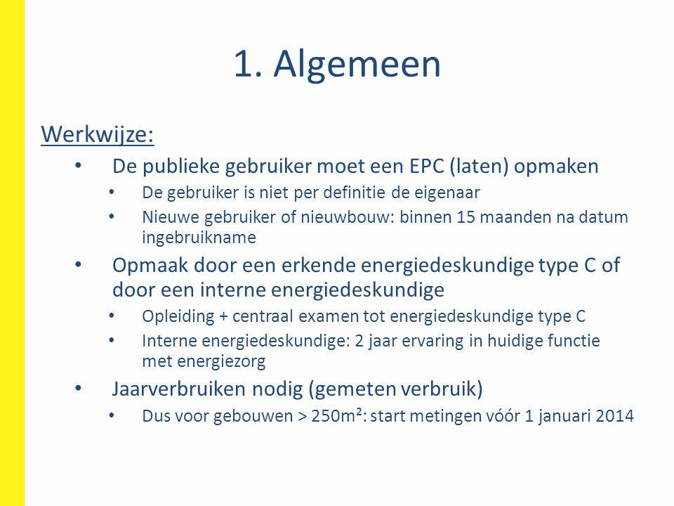 1. Algemeen Werkwijze: De publieke gebruiker moet een EPC (laten) opmaken. De gebruiker is niet per definitie de eigenaar.