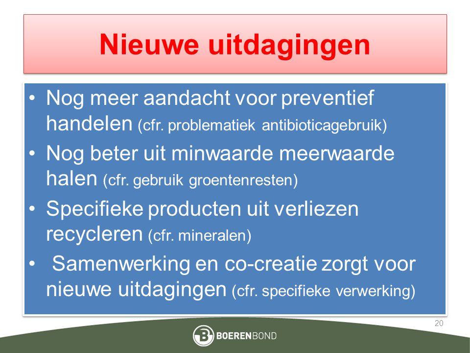 Nieuwe uitdagingen Nog meer aandacht voor preventief handelen (cfr. problematiek antibioticagebruik)