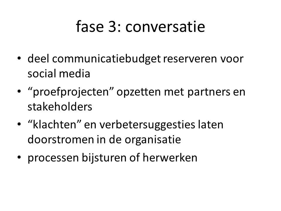 fase 3: conversatie deel communicatiebudget reserveren voor social media. proefprojecten opzetten met partners en stakeholders.