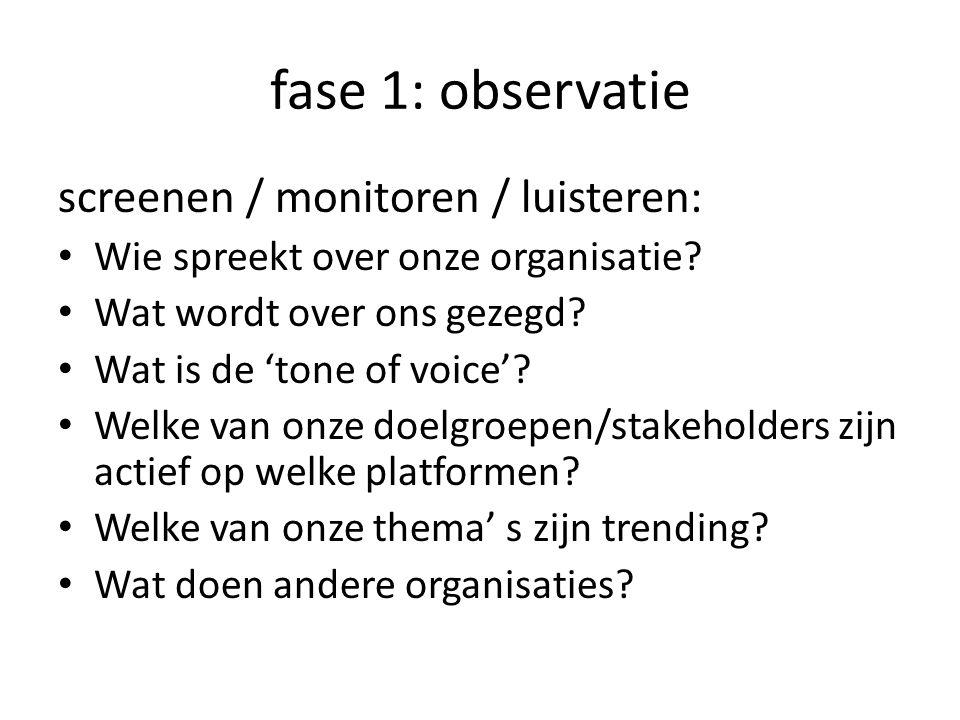 fase 1: observatie screenen / monitoren / luisteren: