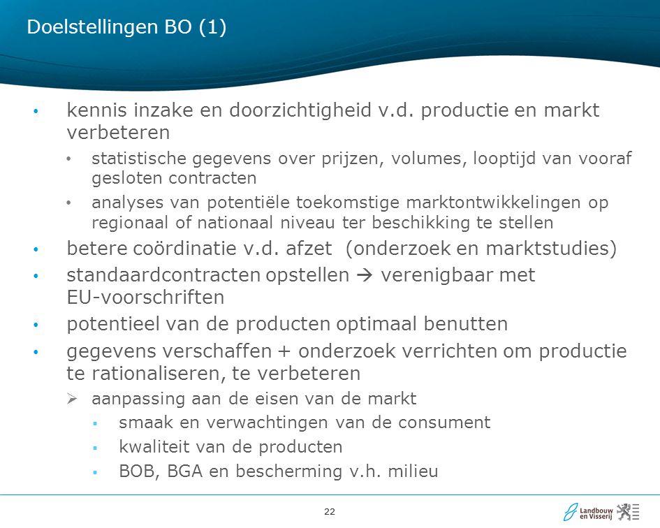 kennis inzake en doorzichtigheid v.d. productie en markt verbeteren