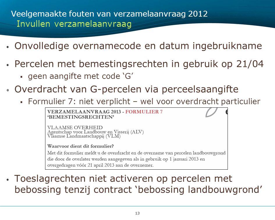Onvolledige overnamecode en datum ingebruikname