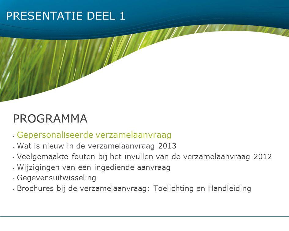 PROGRAMMA Presentatie DEEL 1 Gepersonaliseerde verzamelaanvraag