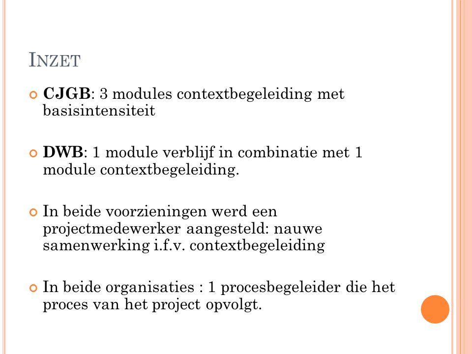 Inzet CJGB: 3 modules contextbegeleiding met basisintensiteit