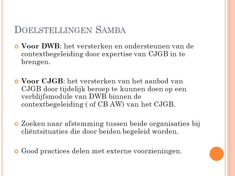 Doelstellingen Samba Voor DWB: het versterken en ondersteunen van de contextbegeleiding door expertise van CJGB in te brengen.