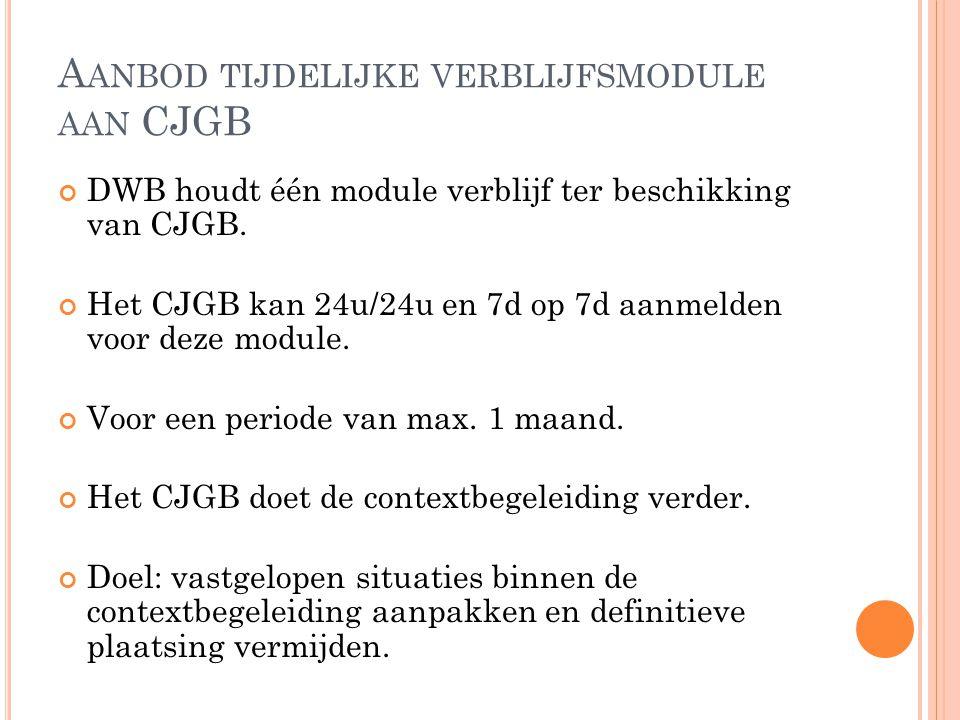 Aanbod tijdelijke verblijfsmodule aan CJGB