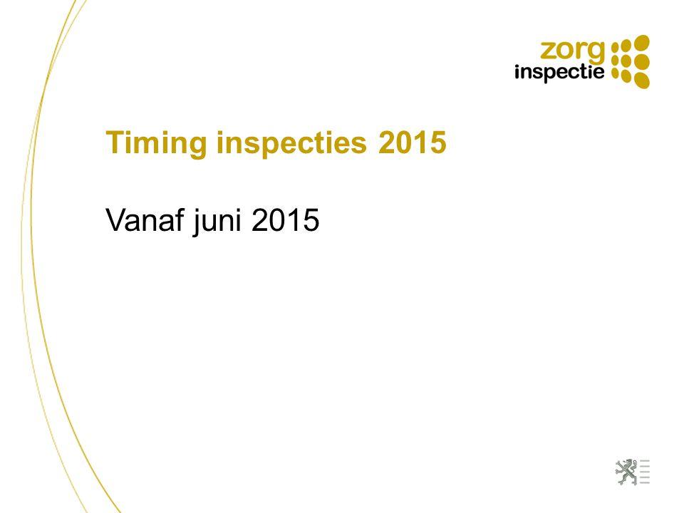 Timing inspecties 2015 Vanaf juni 2015