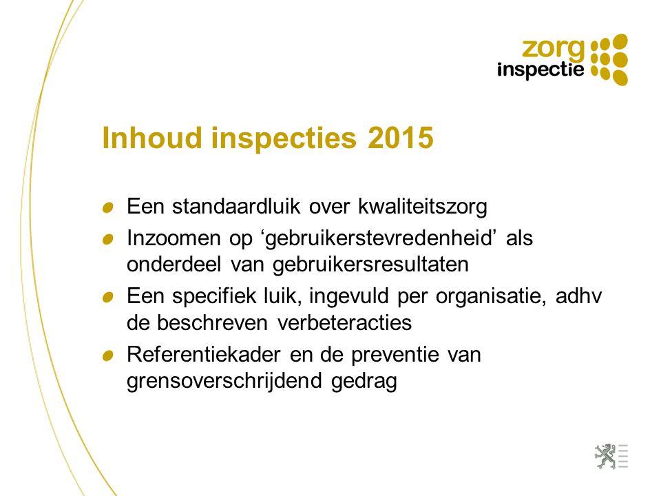 Inhoud inspecties 2015 Een standaardluik over kwaliteitszorg