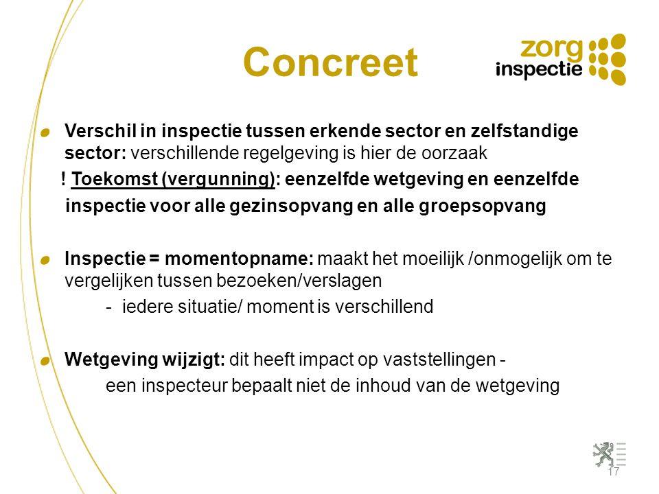 Concreet Verschil in inspectie tussen erkende sector en zelfstandige sector: verschillende regelgeving is hier de oorzaak.