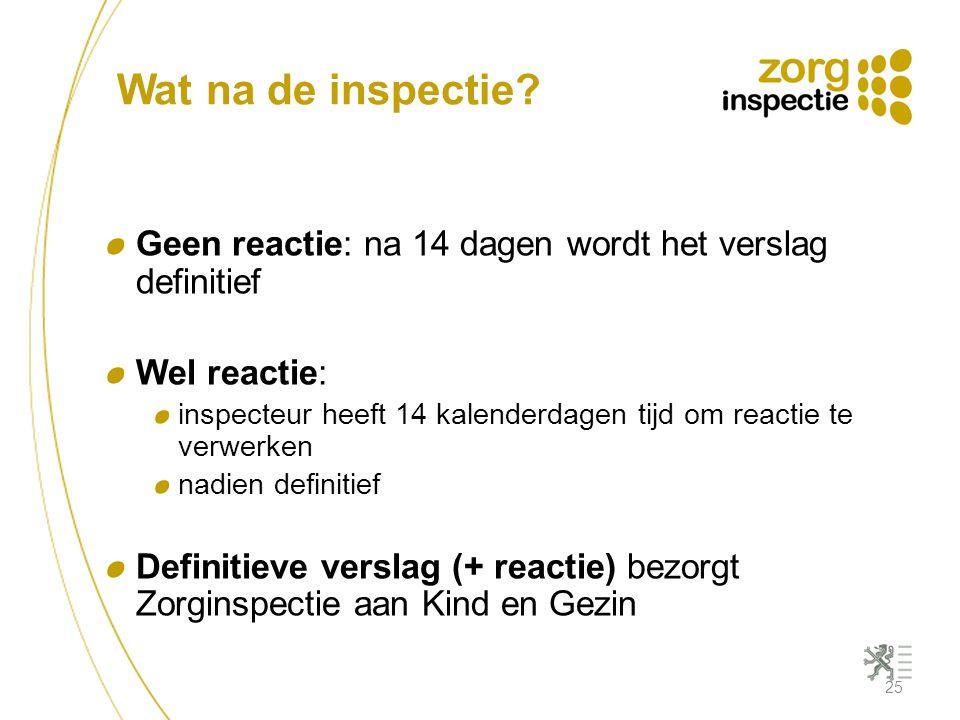 Wat na de inspectie Geen reactie: na 14 dagen wordt het verslag definitief. Wel reactie: