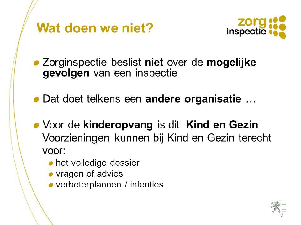 Wat doen we niet Zorginspectie beslist niet over de mogelijke gevolgen van een inspectie. Dat doet telkens een andere organisatie …