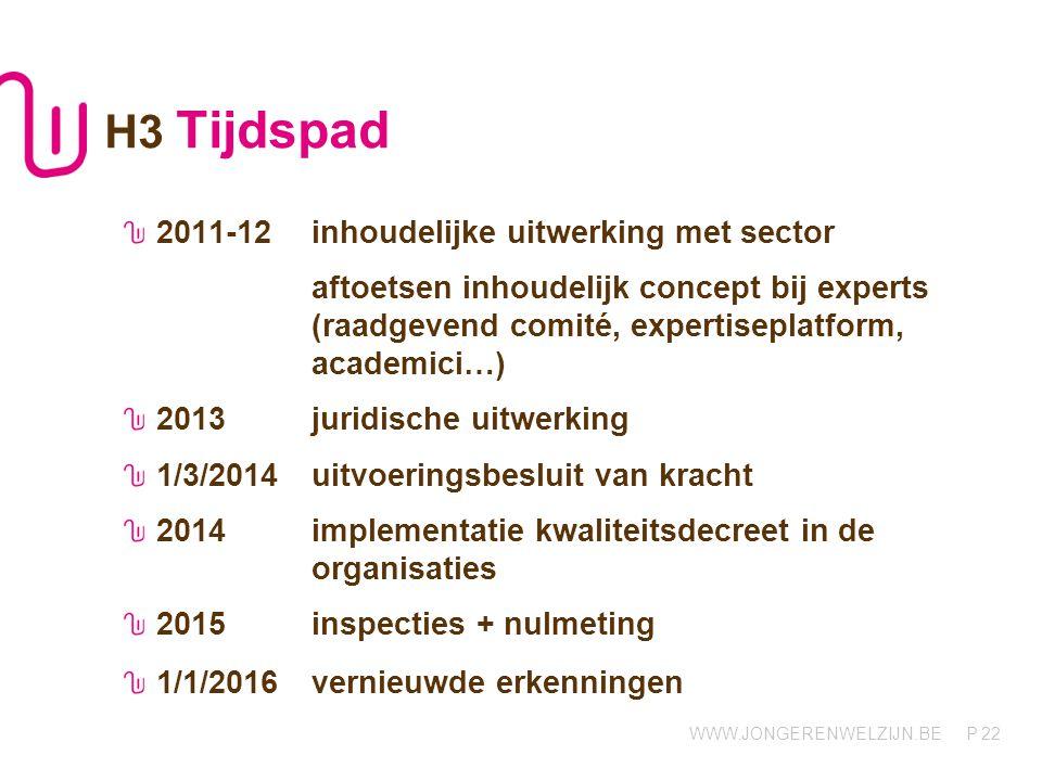 H3 Tijdspad 2011-12 inhoudelijke uitwerking met sector