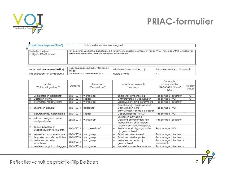 PRIAC-formulier Reflecties vanuit de praktijk–Filip De Baets