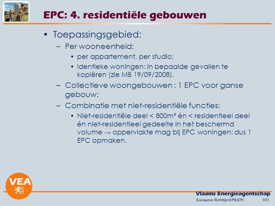 EPC: 4. residentiële gebouwen
