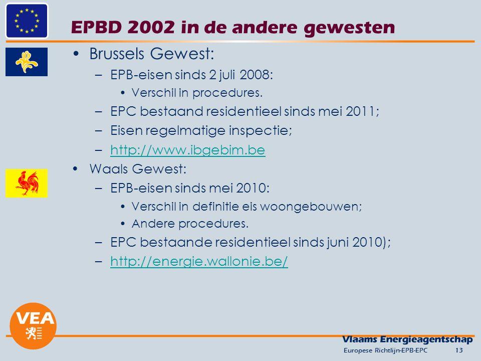 EPBD 2002 in de andere gewesten