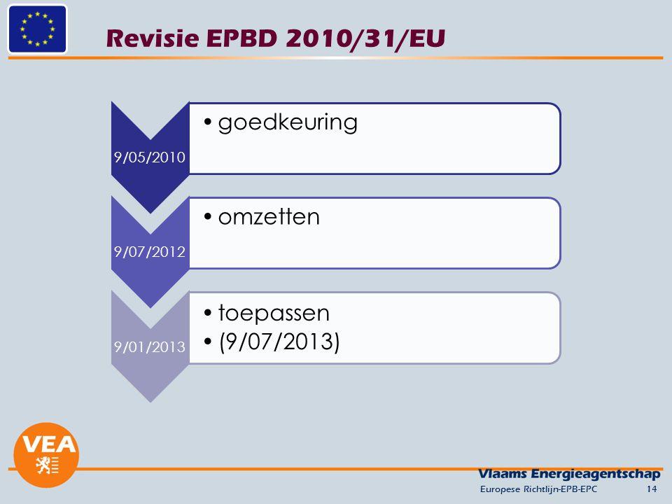 Revisie EPBD 2010/31/EU goedkeuring omzetten toepassen (9/07/2013)