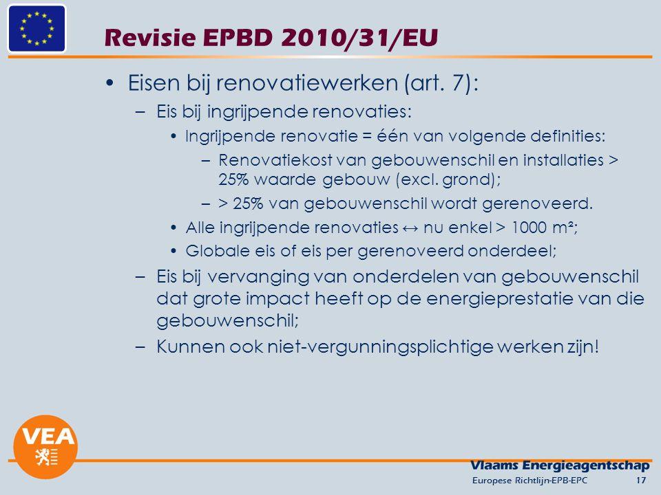 Revisie EPBD 2010/31/EU Eisen bij renovatiewerken (art. 7):