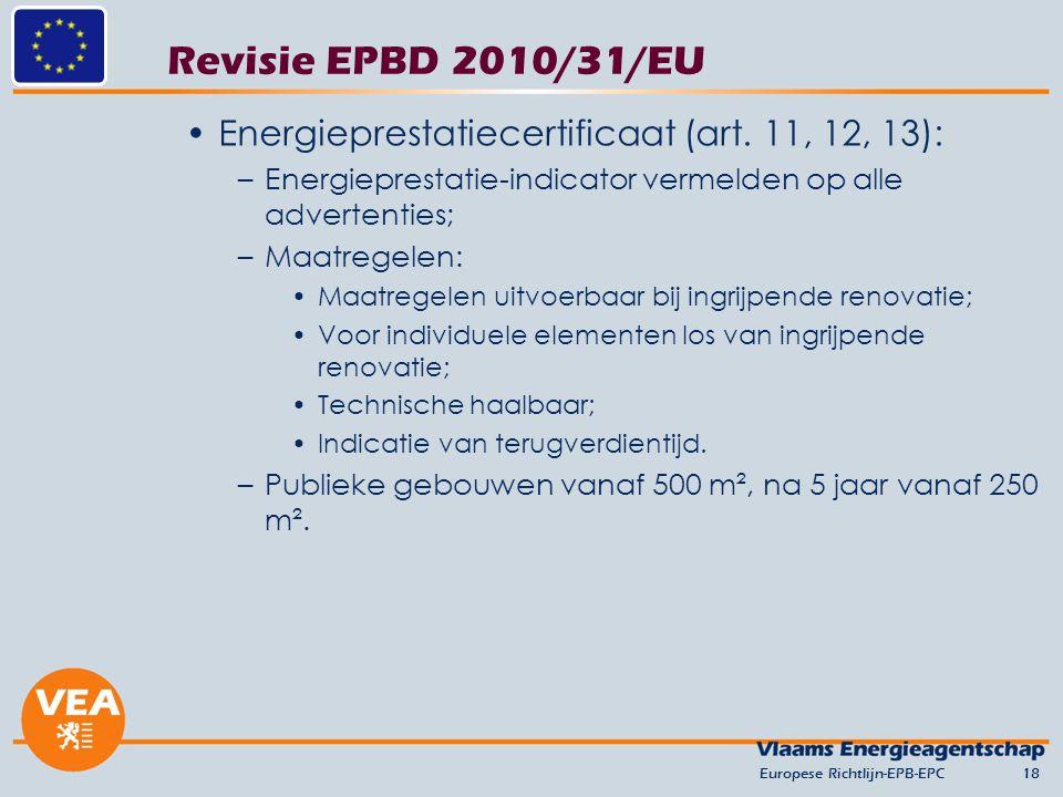 Revisie EPBD 2010/31/EU Energieprestatiecertificaat (art. 11, 12, 13):