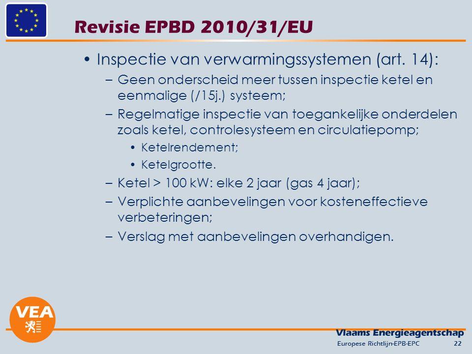 Revisie EPBD 2010/31/EU Inspectie van verwarmingssystemen (art. 14):