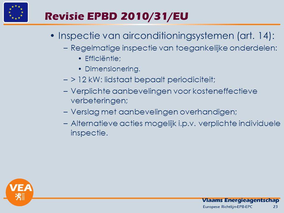 versie juni 2012 Revisie EPBD 2010/31/EU. Inspectie van airconditioningsystemen (art. 14): Regelmatige inspectie van toegankelijke onderdelen: