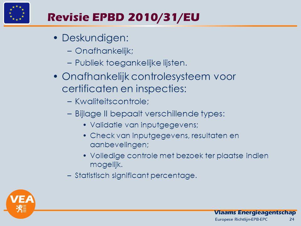 Revisie EPBD 2010/31/EU Deskundigen: