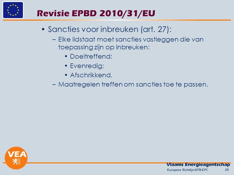 Revisie EPBD 2010/31/EU Sancties voor inbreuken (art. 27):