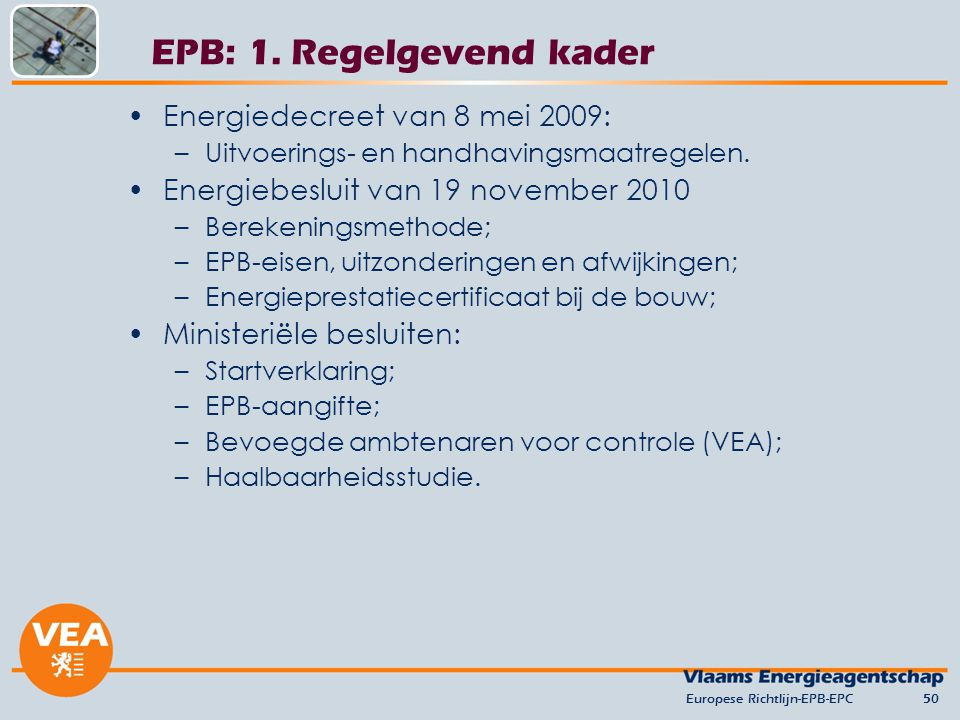 EPB: 1. Regelgevend kader