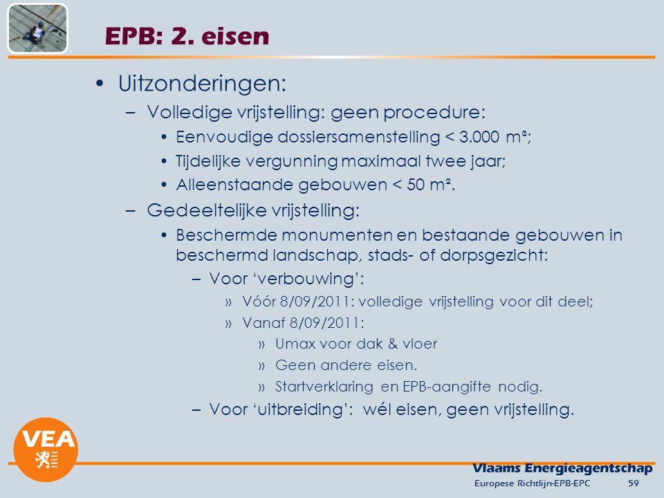 EPB: 2. eisen Uitzonderingen: Volledige vrijstelling: geen procedure: